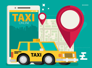 Taxi service. Smartphone. Vector flat illustration.
