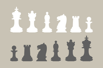 Chess pieces black and white. King, queen, bishop, knight, rook and pawn icon set