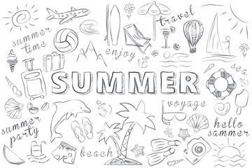 Summer Hand Drawn Icons Set