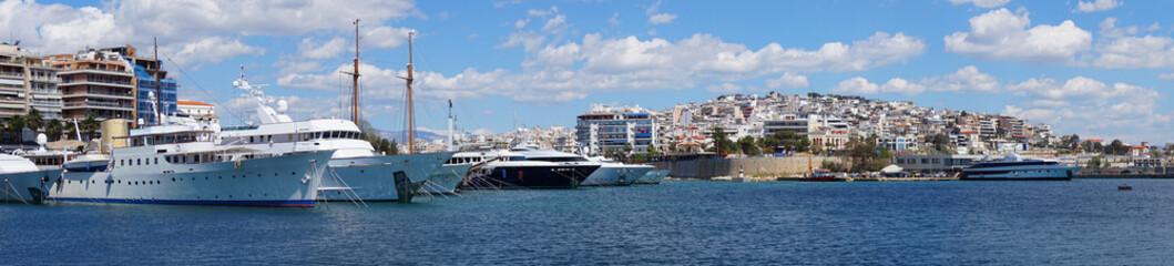 Photo in port of Peiraeus on a spring morning, Attica, Greece