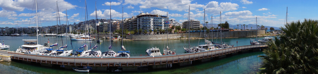 Photo in port of Peiraeus on a spring morning, Attica, Greece