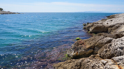 Photo of small picturesque port with chappel of Agios Nikolaos, Peiraeus, Attica, Greece