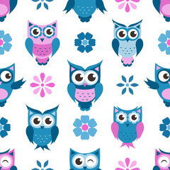 seamless pattern with funny owls and flowers