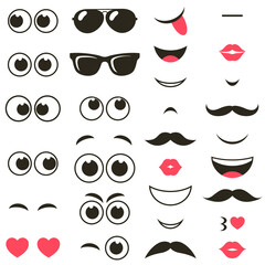 set of cartoon eyes and mouths
