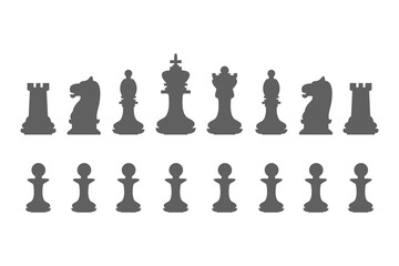 Set chess pieces. King, queen, bishop, knight, rook and pawn icons
