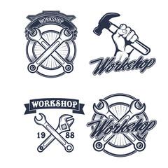 Vintage vector mechanic logo label