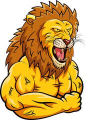 Lion strong mascot. Vector illustration