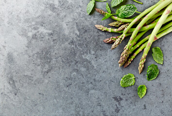 Green Asparagus and Fresh Mint Leaves