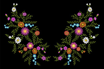 Embroidery flower daisy gerbera herb sticker patch fashion print textile vector illustration