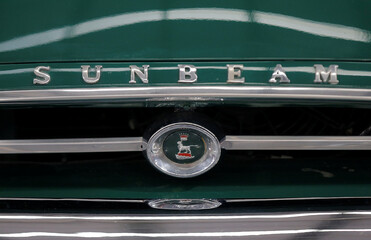 The branding of a 1965 Sunbeam tiger car, manufacturer in England is photographed at the Gosford Classic Car Museum in Gosford, north of Sydney