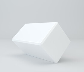 White pedestal in light studio. 3d rendering background