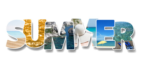 The word summer. Collage of some photos on text. Vacation on beach concept