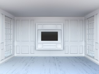 Living room with tv shelf and mirrors. White interior. White wood floor