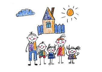 Kids drawing Happy family Mother, father, sister, brother Happy mom and dad with son and daughter Family house Children illustration with happy couple, kids, parents, house Home for my family Chalk