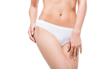 cropped view of perfect woman's body in white underwear isolated on white