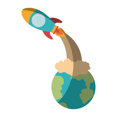 colorful silhouette of earth globe and space rocket launching without contour and shading vector illustration