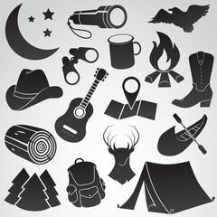 Camping, trip, holiday vector icon set.
