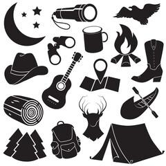 Camping vector icon set.