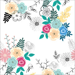 Pretty floral abstract seamless pattern with free space