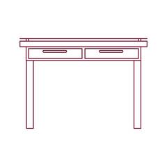 dark red line contour of simple wooden home desk vector illustration