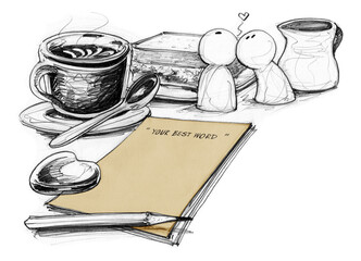 Paper note and coffee for lover concept drawn