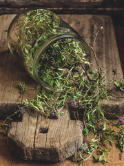 Thyme on a wooden surface
