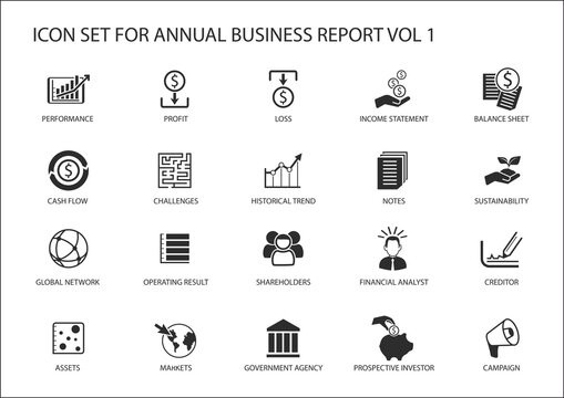 Simple flat design business icons for annual company business report