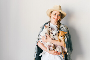 Young smiling happy hipster girl in straw hat, jeans jacket with russian style tress and upsweep holding in hands four chihuahua puppies dogs with funny emorional faces. Coiffure. Looking at camera.