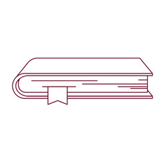 dark red line contour of book with bookmark vector illustration