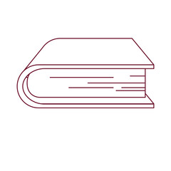 dark red line contour of thick book vector illustration