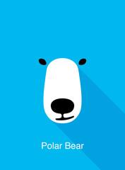 Polar bear cartoon face, flat animal face icon vector