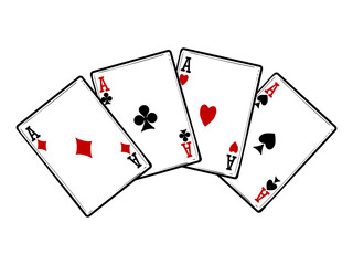 Four aces isolated on white background. Vector playing cards objects