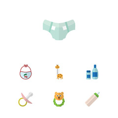 Flat Baby Set Of Nappy, Rattle, Toy And Other Vector Objects. Also Includes Feeder, Bib, Cream Elements.