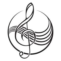 Logo of a black treble clef.