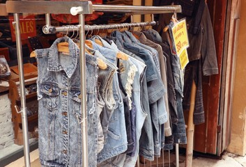 jeans clothes on hangers