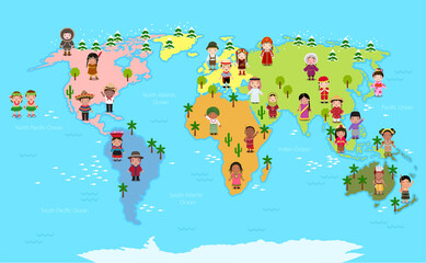 World map and kids of various nationalities