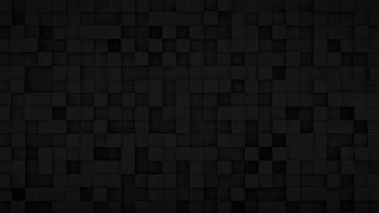 Randomly extruded black cubes 3D render