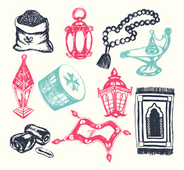 Muslim Symbols - vector hand drawn illustration