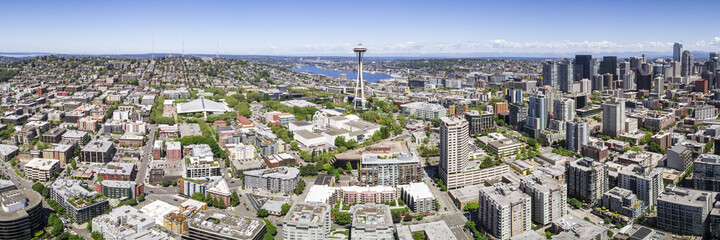 Helicopter Panorama of Downtown Seattle City Skyline with Famous Landmark and Skyscraper Buildings