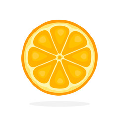 Vector illustration in flat style. Slice of orange. Healthy vegetarian food. Citrus fruits. Decoration for greeting cards, prints for clothes, posters, menus