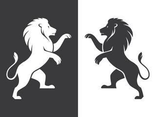 Two heraldic lions rampant