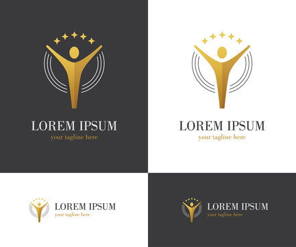 Abstract golden logo with human figure and stars.