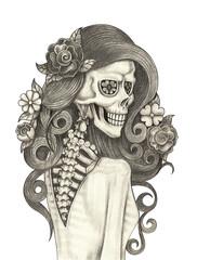 Art women skull.Hand pencil drawing on paper.