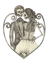 Art wedding skulls day of the dead.Hand pencil drawing on paper.