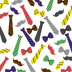 Vector pattern. Tie, bow, mustache. Design for Father's Day.