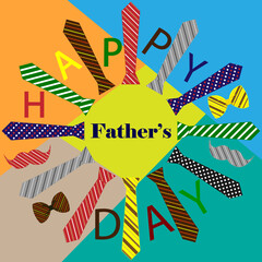 Vector pattern. Tie, bow, mustache. Design for Father's Day congratulation card.