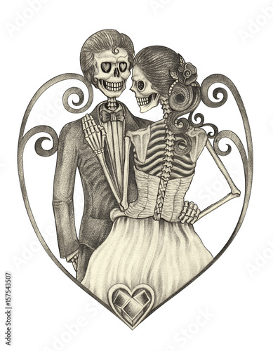 4c82ad6ec Art wedding skulls day of the dead.Hand pencil drawing on paper ...