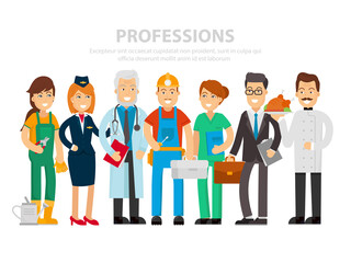 Labor Day. A group of people of different professions on a white background. Vector illustration in a flat style. Doctor, nurse, businessman, flight attendant, cook, builder, gardener happy workers.