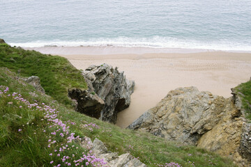 The beach between Loe Bar and Porthleven, Cornwall seen from clifftops