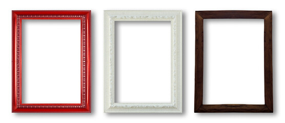 wood frame and white frame and red frame on white background.